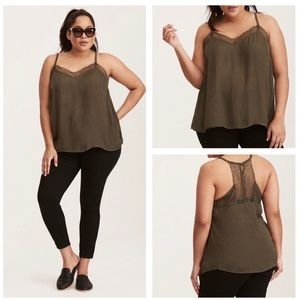 Torrid 00 Green Lace Trimmed Cami Tank